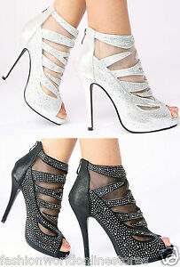 NEW-WOMENS-LADIES-PARTY-GLITZY-STONES-HIGH-HEEL-PEEP-TOE-ANKLE-BOOTS-SHOES-SIZE