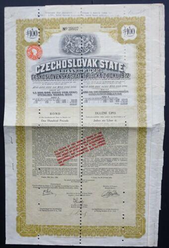 Czekoslovakia - Czekoslovakia State Loan - 1922 - 8% bond for 100 pounds