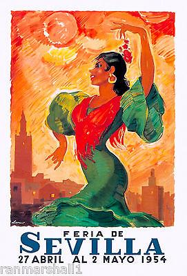 1954 Feria de Sevilla Fair of Seville Spain Vintage Travel Advertisement Poster