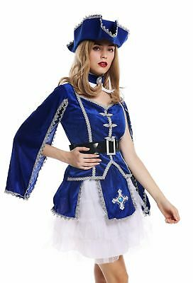 Karneval Barock Soldat Musketier Edelfrau Hut blau S W-0284 (Soldat Kostüm Frauen)