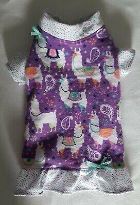 Dog Pajamas Pjs - Sassy Llamas Flannel Nightgown Pajamas PJs Dog Puppy Pet Clothes XXXS - Large