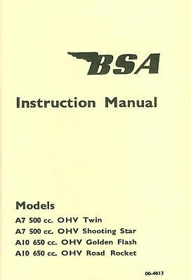 00-4078  BSA A7 A10 Manual Shooting Star Golden Flash Super Rocket 1958-onwards