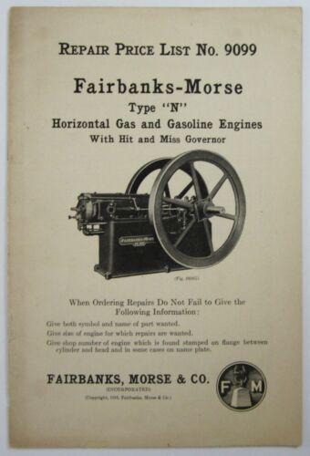 Fairbanks Morse Hit Miss N Engine Farm Equipment Catalog Price List 1916