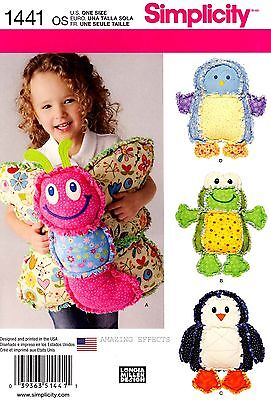 Simplicity Pattern 1441 Rag Quilted Animal Pillows Butterfly Frog Bird Penguin
