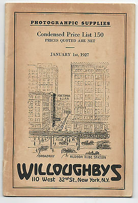 1927 Price list Booklet of Photographic Supplies from Willoughby's New York