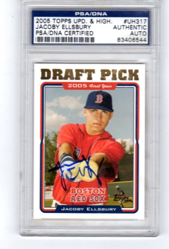 Jacoby Ellsbury 2005 Topps Traded Signed Rookie Card PSA DNA COA Slabbed Auto
