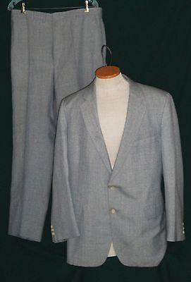 Vintage Man's Suit Light Blue Wool Blend Chest 46