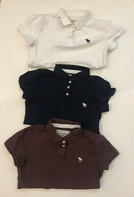 Girl's Juniors Small Abercrombie & Fitch Polo Shirt Lot Blue, White, Plum Shirts