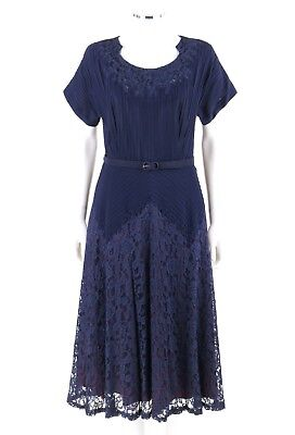 Vtg PICKWICK FASHIONS c.1940s Navy Rayon Crepe Floral Lace Belted Cocktail Dress