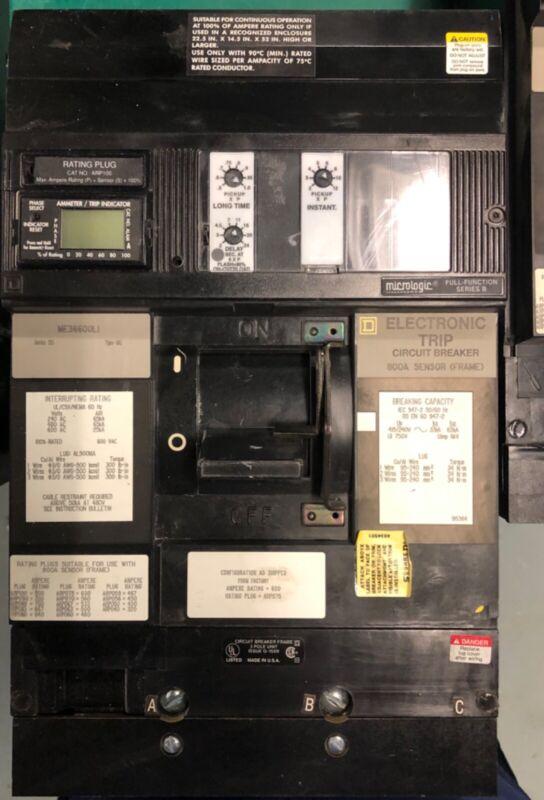 Sq D 600 amp ME36600 LI electronic trip breaker 800 amp sensor frame 75% plug