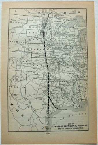 Midland Continental Railroad - 1912 System Map. Antique