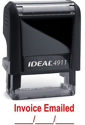 Invoice Emailed Text With Date Line Ideal 4911 Self-inking Rubber Stamp Red Ink