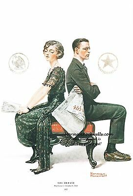 """Norman Rockwell print: """"THE DEBATE"""" Primary Democratic Republican 2016 elections"""