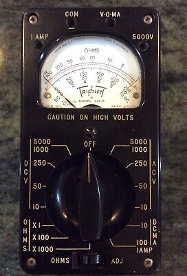 Vintage Triplett Voltmeter Model 666-r Analog Vom Bakelite Case Parts Repair