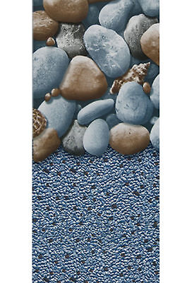 (33' Ft Round Overlap Rock Island Above Ground Swimming Pool Liner-25 Gauge)