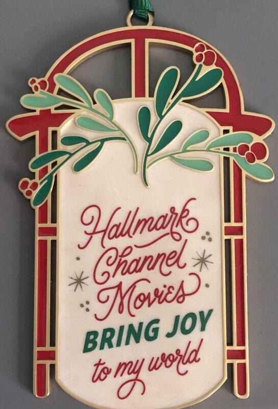 2021 Hallmark Channel Movies Bring Joy Sled Enameled Metal Christmas Ornament