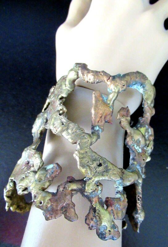 Brutalist HEAVY Open Work Vintage Cuff Bracelet