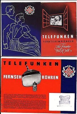 alter Faltprospekt TELEFUNKEN 1953 Fernsehröhren   ( 4652
