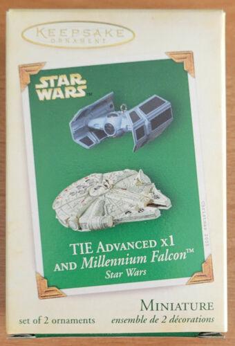 2005 STAR WARS HALLMARK KEEPSAKE ~ TIE ADVANCED x1 and MILLENNIUM FALCON ~ Minis