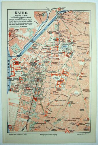 Original 1906 City Map of Cairo, Egypt by Meyers. Antique
