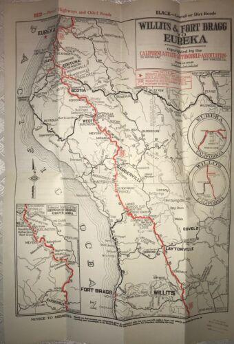 "1937 CSAA Auto Club road map - Willits & Fort Bragg to Eureka. 18"" x 13"""