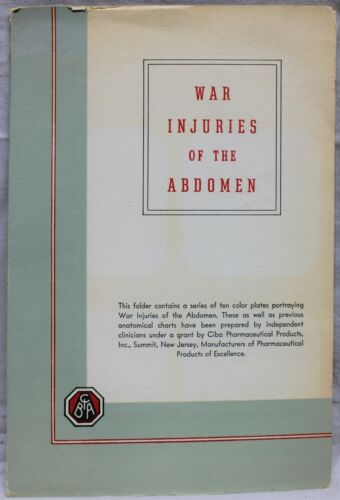 CIBA PHARMACEUTICAL WAR IJURIES OF THE ABDOMEN BOOKLET 1945 WWII VINTAGE MEDICAL