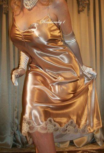 Vtg Style Gold Honey Shiny Satin Lace Side Slit Babydoll Slip Nightgown L 38 40
