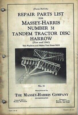 Massey-harris Vintage 31 Tandem Disc Harrow Parts Manual