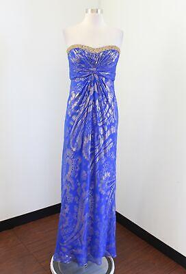 Aidan Mattox Blue Gold Paisley Print Strapless Beaded Formal Prom Dress Silk 8 Beaded Paisley Print Dress
