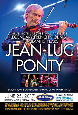 JEAN-LUC PONTY 2017 NEW YORK CONCERT TOUR POSTER - Jazz Fusion, Crossover Jazz