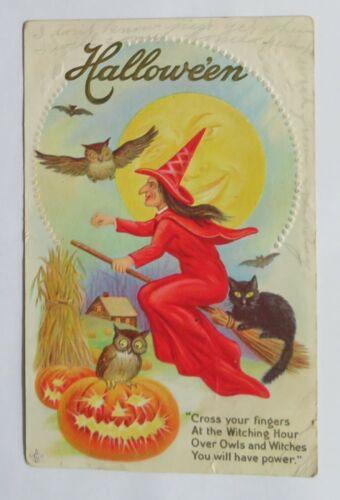 VTG Halloween Postcard Flying Witch Over Farm, Owls, Bats, Black Cat & Jack