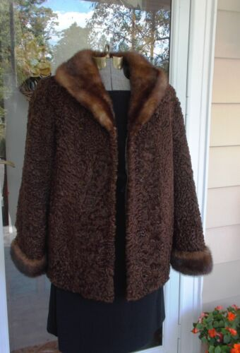 Vintage Dark Brown Persian Lamb Jacket Coat W/Mink Collar and Cuffs M/L Lovely