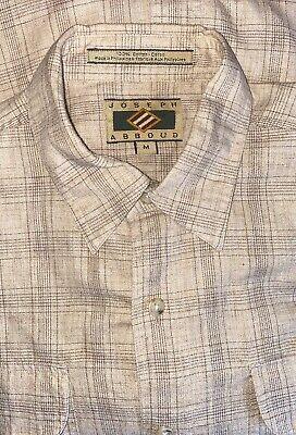 Joseph Abboud Beige Cotton Checked Long Sleeved Shirt Size Medium