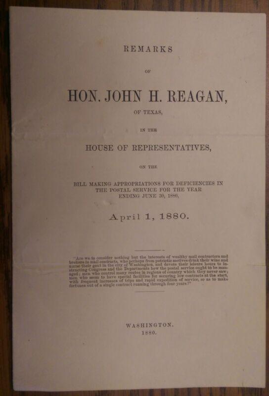 1880 House Appropriations Bill Remarks - John H. Reagan - Postal Service