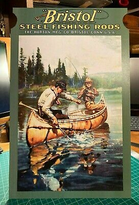 REPRO Bristol Steel Fishing Rods Standing Advertising Die Cut