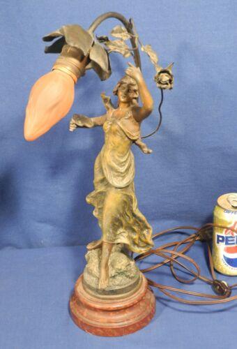 Vintage Antique Art Nouveau Figural Lamp - Victorian Lady Newel Post Working!