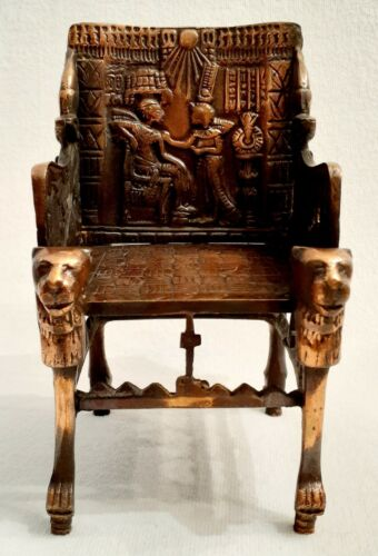 Vintage - Egyptian Pharaoh Throne - Quality Metal Repro Of King Tut Throne/Chair