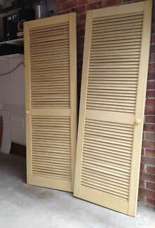 2 x SOLID TIMBER Cream LOUVRE DOORS - maple? - P/UP ONLY . West Pennant Hills The Hills District Preview