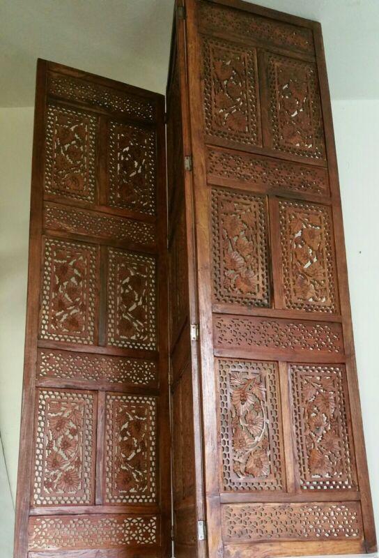 Vintage/Antique Carved Wood 3-Panel Divider - Lattice Grapevine - Asian Style