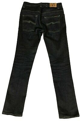 NUDIE Jeans Co Thin Finn 32X32.5 Cotton Stretch Dry Dark Gray Jeans Italy Mint