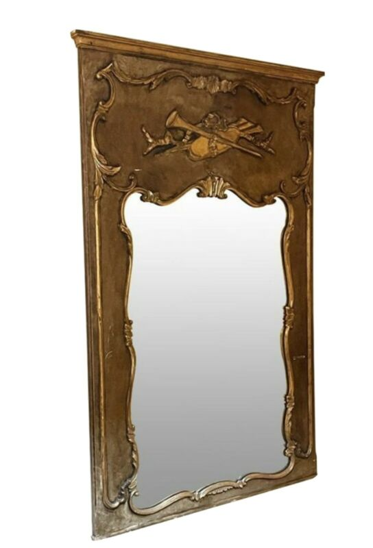 Large French Louis XV Vintage Partial Gilt Trumeau Mirror Musical Raised Carving