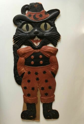 "VINTAGE GERMANY HALLOWEEN DECORATION EMBOSSED DIE CUT 18"" BLACK DAPPER CAT"
