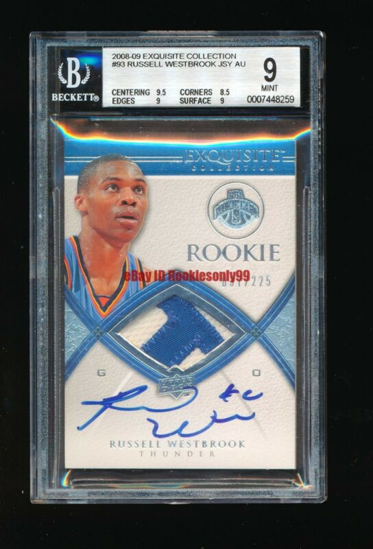 BGS 9 RUSSELL WESTBROOK 2008-09 UPPER DECK EXQUISITE THUNDER PATCH AUTO RC #/225
