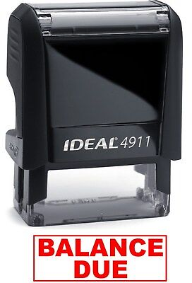 Balance Due Text On An Ideal 4911 Self-inking Rubber Stamp With Red Ink