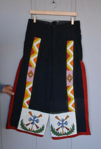 Vintage Early Native American Mens Pants - Beadwork on Trade Cloth Plains