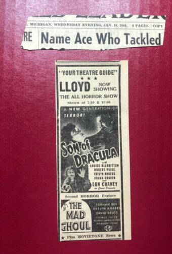 """1944 """"Son of Dracula"""" Louise Allbritton """"The Mad Ghoul"""" horror movies ad 5.5x2"""""""