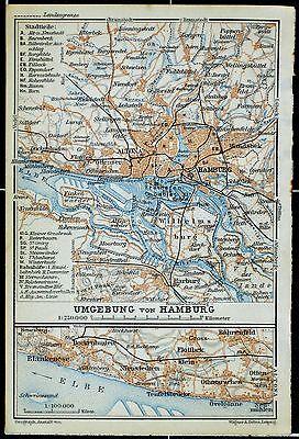 Umgebung von HAMBURG, alter Stadtplan, gedruckt ca. 1910