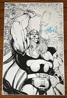 MIGHTY THOR COMIC BOOK ART PAGE SIGNED PRINT JOHN HEBERT 11x17 Marvel Mjolnir