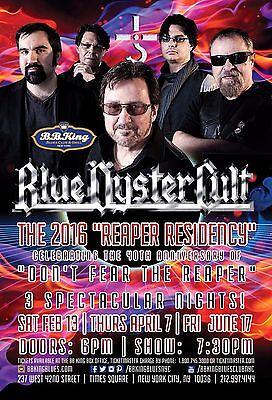 "BLUE OYSTER CULT ""2016 REAPER RESIDENCY"" NEW YORK CONCERT TOUR POSTER- Hard Rock"