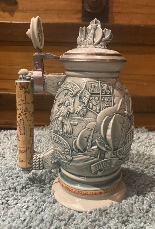 """""""Christopher Columbus New World"""" Vintage Lidded Ceramic Beer Stein 1992 Avon"""